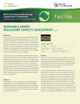 Kenya: Renewable energy regulatory capacity development