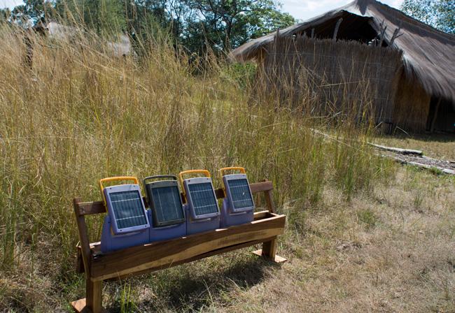 solar panel mini-grid in Rwandan village house