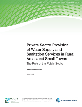 PSP of Water Supply & Sanitation Services in Rural Areas & Small Towns