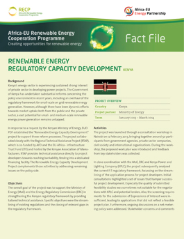 Kenya: Renewable energy regulatory capacity development