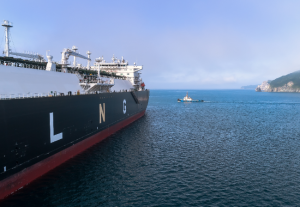A LNG tanker ship anchored off the Greek coast