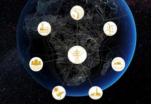 Earth globe featuring Africa showing icons of power, such as electricity, water, wind power, solar and pylons. Demonstrating regional simplified electricity supply-demand for SAPP.
