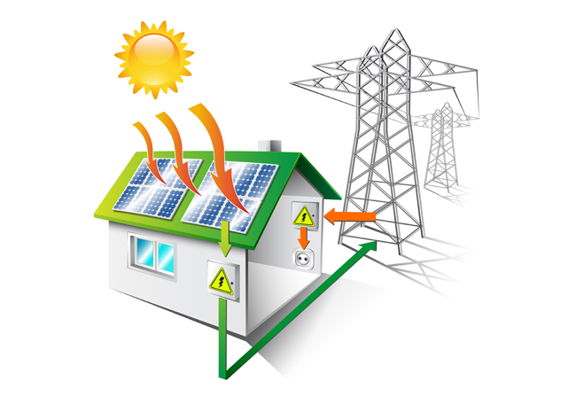 illustration of a house equipped for solar energy for electricity - providing electricity to the national grid