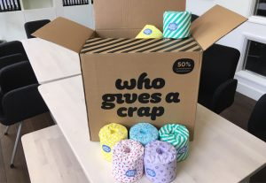 Box full of 'who gives a crap?' toilet rolls, ECA's new supplier