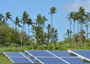Solar panels against a backdrop of palm trees and a blue sky in Fiji.