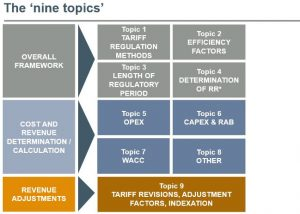 table diagram showing 'the nine' topics for ECA's review of regulatory approaches to setting revenues for electricity transmission and distribution