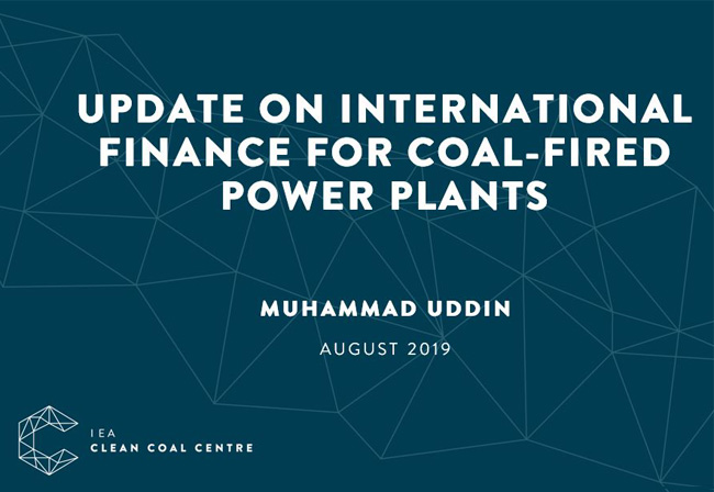 Cover of ECA's powerpoint presentation: 'update on international finance for coal-fired power plants' by Mo Uddin