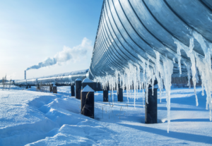 Gas pipeline with icicles