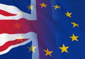 UK union jack flag fades into the EU star flag