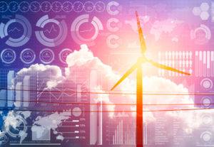 Future of power and technology, wind turbine with business information