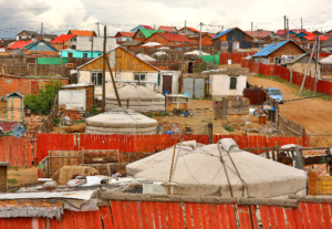 Poor households in outskirts of Ulaanbaatar, Mongolia's Capital