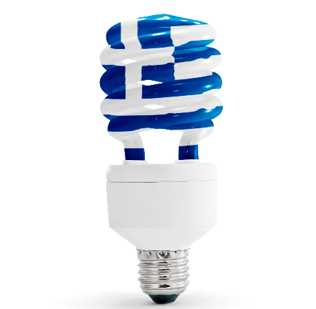Greek flag with energy saving lamp on white background