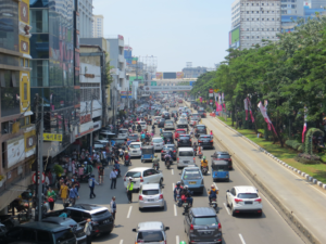 city of Jakarta with busy street and large traffic jam