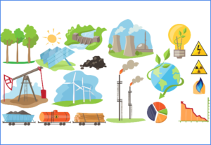 illustrated images of types of energy - wind, solar, fossil fuels, gas and mining