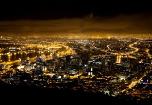 Cape Town at night with electric lighting