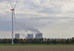 Windpower in front of a coal fire power station