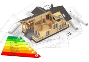 graphic of house model in 3d with energy rating