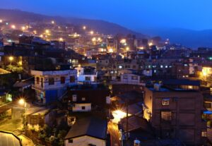 night time view of Muscat with bright lights