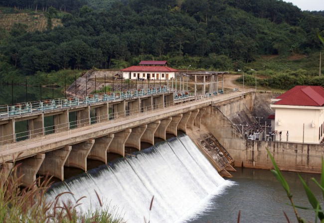 hydro power dam with water flow in Lao